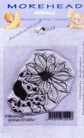 Dalmatian with Flower Clear Rubber Stamp From Morehead